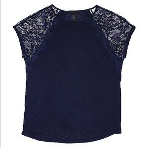 Forever 21 Navy Blue lace cap sleeve top